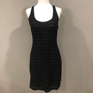 Athleta Black Crochet Lace Tie Back Tank Dress Sm